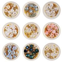 الأبيض شل 3D زهرة الفن مسمار حجر الراين مجوهرات زجاج أنبوب حبة لؤلؤ المعادن برشام ممهد هاندماكي الديكور مانيكير
