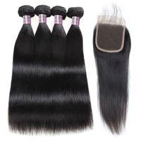 Extensiones de cabello virgen recto 4bundles con cierre de encaje 4x4 paquetes de cabello humano con cierre barato de buena calidad tejido de pelo humano