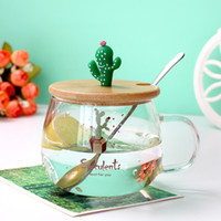 Creative 3D cartoon cactus Glass mug Cover with spoon Milk c...