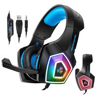 gaming headset professionale Hunterspider V1 stereo Bassi Surround auricolare luce colorata fino Gamer luminoso cuffie per PS4 Xbox One PC