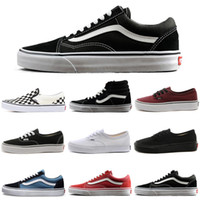 VANS Old Skool Authentic sk8-hi Skool Canvas Casual Shoes Triple Blanco Negro Mujeres para hombre Diseñador de moda Skateboarding Sports Sneakers 36-44