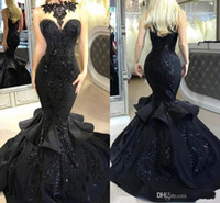 Stunning Black Long Prom Dresses 2019 Sexy Beaded Appliqued ...
