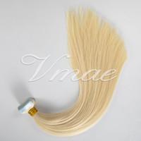 100% Remy Virgin Européen Tape dans les cheveux Double extension dessinée 14 à 26 pouces 100g Naturel Naturel Multi Couleurs Pilicherie Soie Peau Trafon