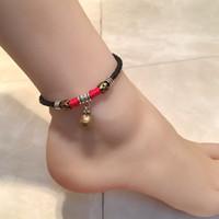 Para el tobillo de la vendimia para las mujeres de Bohemia retro campanilla cuerda pulsera para el tobillo del pie Playa Cadena hecha a mano joyería