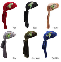 Moda Dinozor Nakış Kadife Durags Bandanalar Türban Bandı Erkekler Dışında Dikiş DuRag Dalgalar Kap Türban Şapka Saç Aksesuarları
