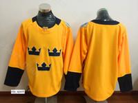 Em branco Camisola Homens Hóquei No Gelo Da Suécia Do Vintage Equipe Da Copa Do Mundo 2016 30 Camisolas Henrik Lundqvist Início Amarelo Cor Tudo Costurado