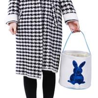23 stilleri Çizgili Easter Basket Tuval Tavşan Kovalar Paskalya Tavşanı Çanta Ekose Yumurta Şeker Sepetleri Dalga Tavşan Büyük Çantalar GGA3191