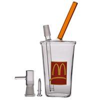 Mini becher Bong McDonald Cup Bubbler Water Bongs Bangs di vetro spesso Bongs con tubi d'acqua Pan Ittiglie d'acqua Narghilè con 14mm 8,1 pollici