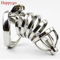 Dispositif de chasteté pour homme Happygo en acier inoxydable avec dispositif de chasteté avec cathéter urétral, cage à coq, ceinture de virginité, anneau à pénis, A276-1 D19011105