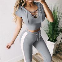 Kadın Kapşonlu Yan Çizgili Tracksuits İnce Tasarımcı Katı Tie Bayanlar Spor Skinny Aktif Kasetli Kız 2adet Pantolon Takımları