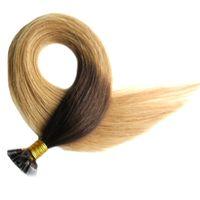 Горячая Ombre Virgin Pre Bonded Nail U TIP Наращивание волос 100s Кератиновый фьюжн Ногтей TIP Наращивание человеческих волос Virgin Indian Прямая Реми