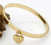 Bracciale gioielli amore della moda di New doppio dell'acciaio inossidabile del cuore del piatto di polsino in oro rosa braccialetti del T per il braccialetto amore donne con la scatola