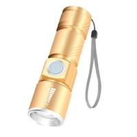 Zoomable LED Q5 torcia della torcia elettrica esterna escursioni Flash Light campeggio portatile mini lampada USB caricabatteria torce elettriche torce includ 18650