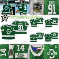 2019-2020 Dallas Stars Jersey 14 Jamie Benn 91 Tyler Seguin 30 Ben Bischof 47 Alexander Radulov 4 Miro Heikanen grüne Hockey-Trikots
