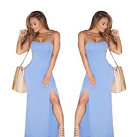 Maxi Jumper Kleider Frauen Sexy Side Split Spaghetti-Trägern Rundhalsausschnitt Sleeveless Backless Bodycon Knöchellangen Schlaf Kleid