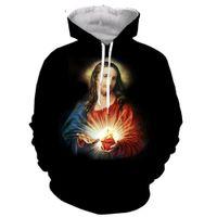 Jesus 3D gedruckt Männer Frauen mit Kapuze Hoodie Sweatshirt Mode Grafik Hoodie lässig Streetwear Pullover