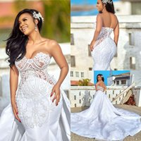 2020 Sexy See Through Sweetheart Wedding Dresses with Detach...
