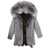 Lavish prata raposa guarnição da pele marca Placket Maomaokong neve casacos cinza pele de raposa revestimento mulheres longa cinzenta parkas