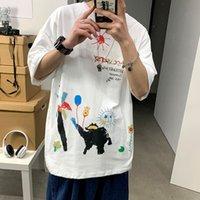 SONGSANDING 2021 Летний Стиль Граффити Дрешительные Футболки 1: 1 Лучшее качество Хлопок Повседневная хип-хоп футболка High Street Vetements T Рубашки