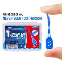 16pcs / box jetables dentaires interdentaires de soie dentaire douce de silicone brossent les dents nettoyant le bâton le soin oral le bâtons de soie dentaire