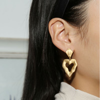 Vintage Matte Gold Heart Drop Earrings for Women Chic Irregu...