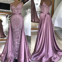 2020 neuer nach Maß Zuhair Murad Abend-Kleider mit abnehmbarer Zug volle Spitze Backless Sleeveless Abschlussball-Kleid BM1627