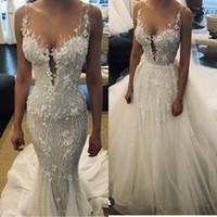 2020 hermosa Sheer 3D encaje apliques sirena vestidos de novia con tren desmontable sin respaldo vestidos de novia hechos a mano vestido de boda con cuentas principales