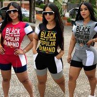 Donne Tuta maniche corte T shirt nera a grande richiesta Shorts Two collega gli insiemi di Outfits Fashion Casual vestito di sport D61815