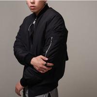 Moda- mens bombardeiro Jacket Estilo MA1 hip hop Black Jacket Mens Slim Fit Hip Hop Pilot Revestimentos de beisebol casacos