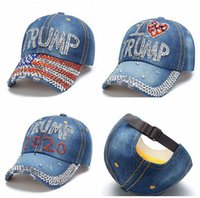 Donald Trump Denim Baseball Casquette en plein air J'aime Trump 2020 Strass Hat Sports Cap Strosted USA Drapeau Cap Snapback LJJA3781