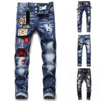 Mens Distressed Rips Stretch Schwarz-Jeans Slim Fit Gewaschene Motorrad-Denim-Hosen Panelled Hip-Hop-Hose T1059