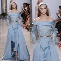 Custom Made Robes de soirée formelles Elie Saab Dernières robes de soirée jumpsuit robe de cou bateau à manches longues robe de bal avec dentelle Applique Sash Overskir