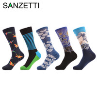 SANZETTI 5 pairs lot Combed Cotton Colorful Men' s Paper...