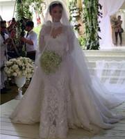 Vintage plus Größe Perlen Spitze Lange Ärmel Overkirt Brautkleider 2019 Vintage Sheer Brautkleider Vestidos de Novia Mermaid Hochzeitskleid