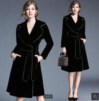 النساء المعطف الطويل derss بسيط مثير ضئيلة الذهب مطوي دعوى طوق بأكمام طويلة الخصر المخملية معطف خندق مثير سيدة واقية اللباس