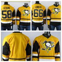 Pittsburgh Penguins Jerseys O melhor jogador de 58 Kris Letan Jersey 66 Mario Lemieux Alta Qualidade Bordada Grey Grey Hockey Camisas