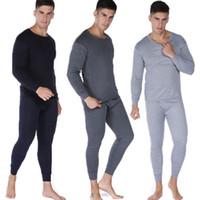 Homens 2pcs Longo Set Merino mistura de lã Underwear térmica preto ou bege