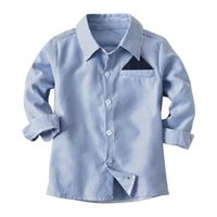 Cute Boys Gentleman Blue Stripes Camicie Tees Western Fashion Bambini Ragazzi Holiday Party Blouse
