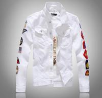 2019 весна новый мужской рукав больше маркировки белый джинсовая куртка дизайн Весна куртка Жан пальто однобортный размер M-5XL