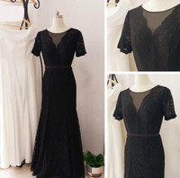 Black Sheath Mother Of The Bride Jewel Short Sleeves Lace Fl...