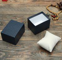 Orologi di carta scatola rettangolo Guarda scatole con il cuscino 3 colori Contenitori di regali di caso per la vigilanza dei monili da polso Pacchetto Imballaggio
