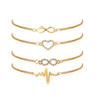 Luxo cor do ouro Chain Link 4 estilos de design bonito do coração Bracelet para as Mulheres Meninas Infinito Amor para sempre Jóia Casual