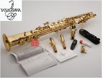dava ile profesyonel Japonya YANAGISAWA S-W010 B (B) Bölünmüş Soprano saksofon Altın Vernik saksafon müzik aletleri
