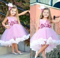 Прекрасный розовый и белый длиной до колен цветочница платья принцесса квадратный вырез топ Атлас ручной работы цветок тюль маленький ребенок дети формальная одежда