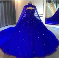 Royal Blue Ball Vestidos de baile Vestidos Beading Lace Appliques Vestidos de Noite com Envoltórios Festa de Festa de Festa de Shaps de Soirée