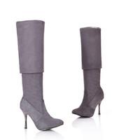 Morazora plus größe 34-43 neue mode schuhe über den kniestiefel frauen high heels herbst spezige zehe strömen schwarze dünne hohe stiefel