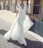 Ensotek Boho Beach свадебные платья 2019 Новый vestido de noiva V-образным вырезом оборками спинки шифон свадебные платья свадебные платья 2020