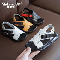 Smgslib Yaz Gladyatör Sandalet Çocuk Deri Düz Moda Erkek Kız Ayakkabı Nefes Flats Ayakkabı Çocuklar Yaz Sandalet