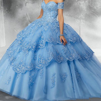 Sky Light Blue Ball pizzo modesto abito di Quinceanera veste Paillettes Tulle di Applique Off spalla partito convenzionale Sweet 16 Dress