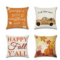 45 * 45cm Federa Caduta del cuscino di lino Happy Felf Thanksgiving Day Soft Linen Cuscino Cuscino Cuscino Cover Home Decor VT0127